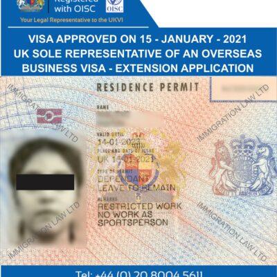 SOLE REPRESENTATIVE OF AN OVERSEAS BUSINESS VISA